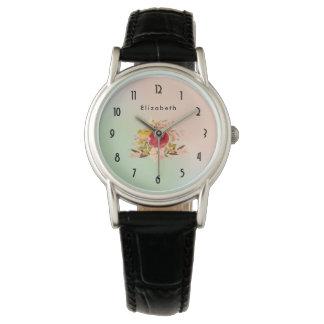 Relógio De Pulso Buquê floral bonito da aguarela personalizado