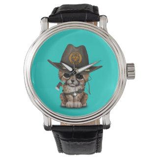 Relógio De Pulso Caçador bonito do zombi de Cub da chita