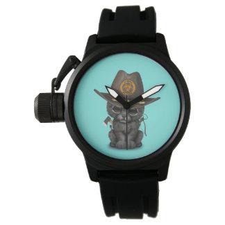 Relógio De Pulso Caçador bonito do zombi de Cub da pantera preta