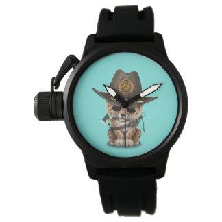 Relógio De Pulso Caçador bonito do zombi de Cub do leopardo