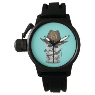 Relógio De Pulso Caçador bonito do zombi de Cub do leopardo de neve