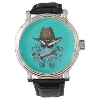 Relógio De Pulso Caçador do zombi do polvo do bebê azul