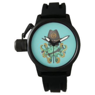 Relógio De Pulso Caçador verde do zombi do polvo do bebê