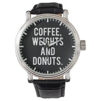 Relógio De Pulso Café, pesos e rosquinhas - Gym engraçado da