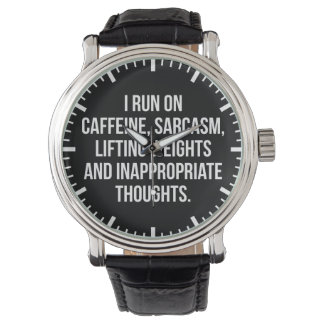 Relógio De Pulso Cafeína, sarcasmo, pesos de levantamento,