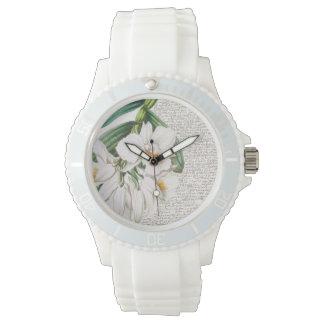 Relógio De Pulso Caligrafia branca das orquídeas