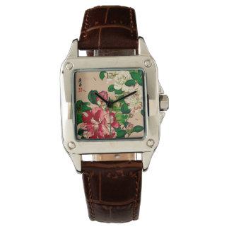 Relógio De Pulso Camélias do japonês do vintage. Profundamente -