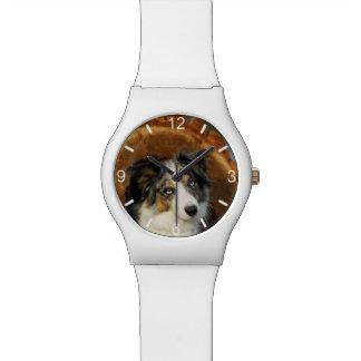 Relógio De Pulso Cão azul de border collie Merle - seletor-placa