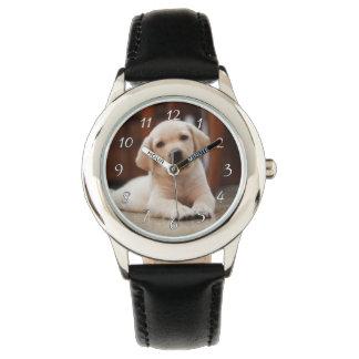 Relógio De Pulso Cão de filhote de cachorro amarelo de Labrador do