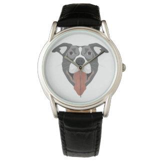 Relógio De Pulso Cão Pitbull de sorriso da ilustração