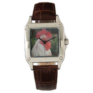 Relógio De Pulso Cara branca do galo de Brown, senhoras