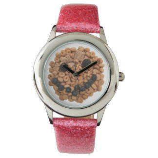 Relógio De Pulso Cara de sorriso bonito da fruta e do cereal