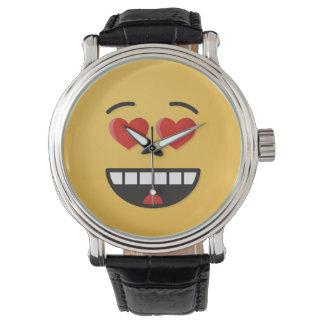 Relógio De Pulso Cara de sorriso com olhos Coração-Dados forma