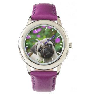 Relógio De Pulso Cara fulva bonito do cão de filhote de cachorro do