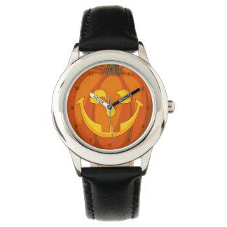 Relógio De Pulso Cara pateta feliz da abóbora do Dia das Bruxas da