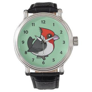 Relógio De Pulso Cardeal de crista encarnada de Birdorable