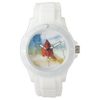Relógio De Pulso Cardeal vermelho do Natal primitivo do país