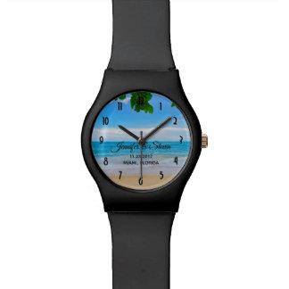Relógio De Pulso Casamento tropical da ilha das férias da praia
