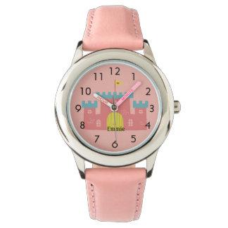 Relógio De Pulso Castelo cor-de-rosa bonito/criança personalizada