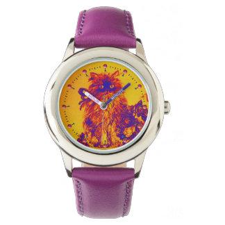 Relógio De Pulso CAT do GATINHO/GATINHO COM a laranja azul roxa dos