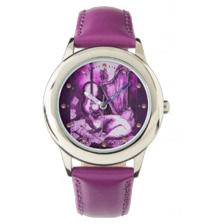 Relógio De Pulso CAT MUSICAL COM CORUJA, branco roxo