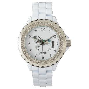 fadaa0f0429 Relógio De Pulso Cavalo branco bonito do carrossel