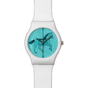 64cf5209a5d Relógio De Pulso Cavalo do carrossel - turquesa e Aqua