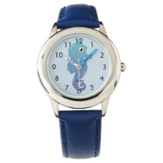 Relógio De Pulso Cavalo marinho azul criança personalizada
