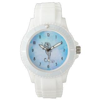 Relógio De Pulso Cavalo marinho e Seashell na aguarela azul