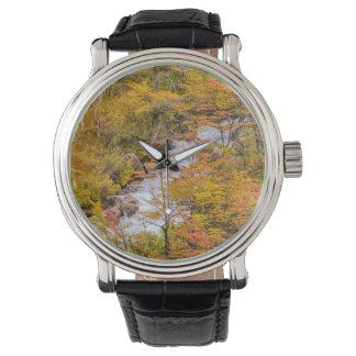 Relógio De Pulso Cena colorida da paisagem da floresta, Patagonia