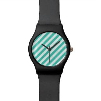 Relógio De Pulso Cerceta e teste padrão diagonal branco das listras