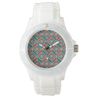 Relógio De Pulso Cerceta, marrom, teste padrão floral étnico bege