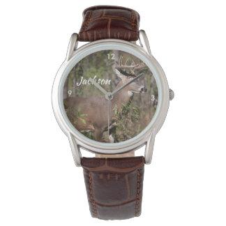 Relógio De Pulso Cervos de mula bonitos com cremalheira enorme