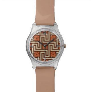 Relógio De Pulso Chave grega, Brown, bege e oxidação de Deco