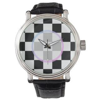 Relógio De Pulso Checkered preto e branco