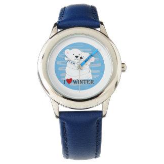 Relógio De Pulso Chique bonito polar do azul do abraço do inverno