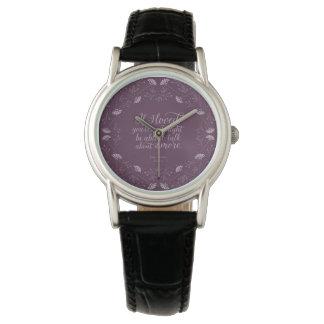 Relógio De Pulso Citações florais roxas do amor de Jane Austen Emma