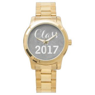 Relógio De Pulso Classe de tipografia branca preta do quadro 2017