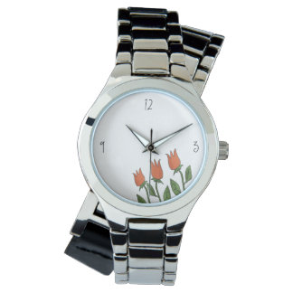 Relógio De Pulso Clássico puro branco das tulipas florais do