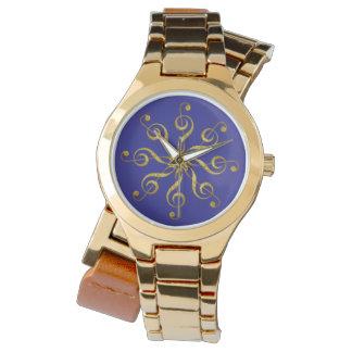 Relógio De Pulso clef de triplo da flor - jóia