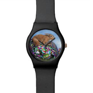 Relógio De Pulso Coelho em seu ovo colorido para a páscoa - 3D