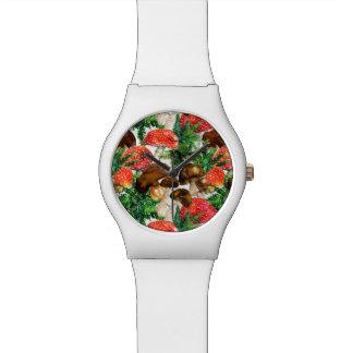Relógio De Pulso Cogumelos da aguarela e teste padrão verde da