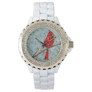 Relógio De Pulso Colagem cardinal do pássaro do Natal