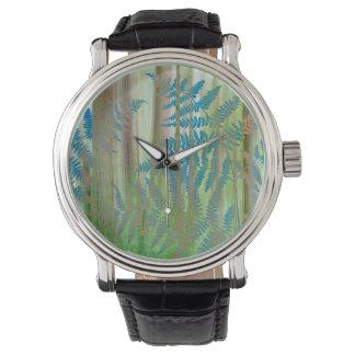 Relógio De Pulso Colagem das samambaias da samambaia e da floresta