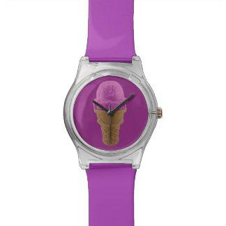 Relógio De Pulso Cone do sorvete da morango do pop art