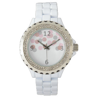 Relógio De Pulso confetes cor-de-rosa elegantes do rosa pastel do