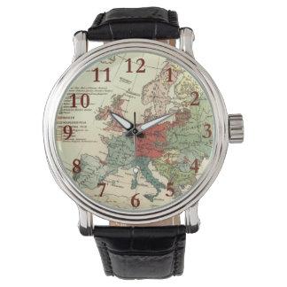 Relógio De Pulso Continente europeu do mapa do vintage