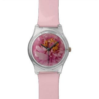 Relógio de pulso cor-de-rosa da peônia