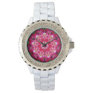 Relógio De Pulso ~ cor-de-rosa do Fractal da miniatura do ~