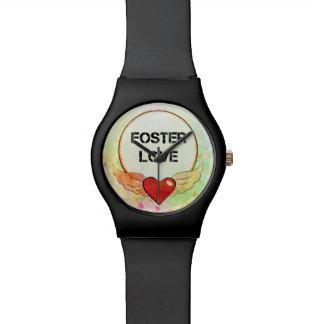 Relógio De Pulso Coração adoptivo da aguarela do amor